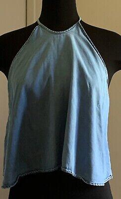 ZARA Women's Blue Chambray Lyocell Halter Neck Crop Tank Top ~ Size XS