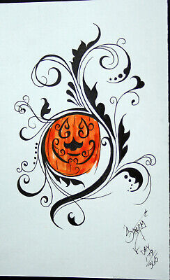 PUMPKIN FILIGREE FANCY TATTOO HALLOWEEN ART PAINTING JACK-O-LANTERN BRUT FOLK](Halloween Art Pumpkins)