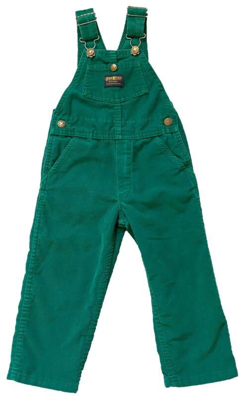 OshKosh Bib Overalls Boys Girls Size 5 6 Green Corduroy Pants Vtg 80