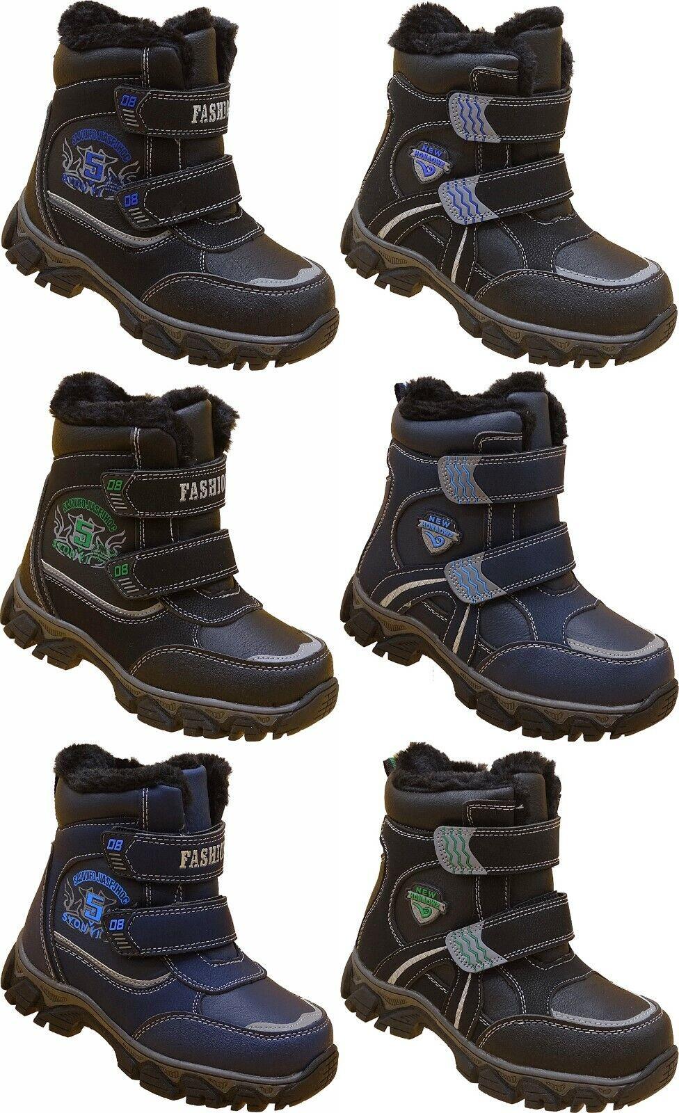 Jungen Schuhe Kinder Winter Stiefel Boots warm gefüttert Gr.27 - 38 Nr.808