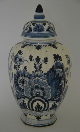 "Vintage Lidded Porcelain Vase - Ginger Jar ROYAL DELFT ~12"" High Floral Design"