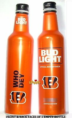 CINCINNATI BENGALS 2017 BUD LIGHT BEER NFL KICKOFF ALUMINUM BOTTLE OHIO FOOTBALL