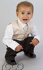 baby boys page boy outfit silver pink gold 4pc wedding  waistcoat suit age 3m-8y