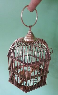 "Antique Vintage Brass Birdcage 11"" Dome Shaped Bird Cage 18"" Hexagonal w Perch"