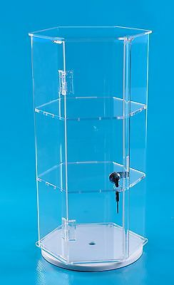 24 Acrylic Hexagonal Display Locking Case Tall Jewelry Display W 2 Shelves