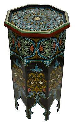 Moroccan Wood Side End Table Corner Coffee Handmade Hand Painted Moorish Black