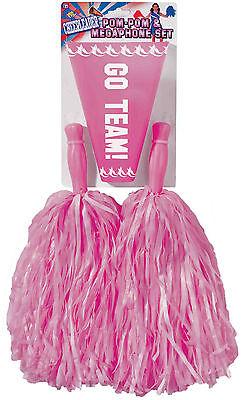 Pink Pom Pom and Megaphone Set Cheerleader Pom Poms Costume Accessory - Pink Megaphone