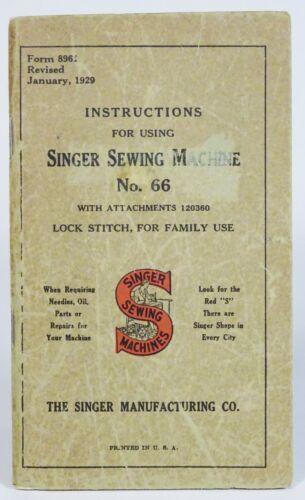 Vintage 1929 SINGER SEWING MACHINE Instruction BOOKLET, Red Eye TREADLE