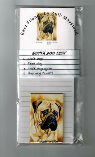 New Bullmastiff Magnetic Refrigerator List Pad & Magnet By Ruth Maystead BLM-5