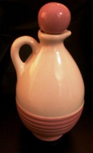 Vtg Uhl Pottery MOHAWK CREAM & PINK LIQUEUR PITCHER & Stopper - Bottle Jug R-4