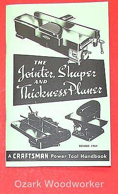 Craftsman Jointer Shaper Thickness Planer 1954 Handbook Operators Manual 0864