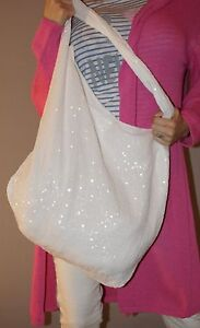 NEU Tasche Blogger Schultertasche Baumwolle Beutel Pailletten Weiß Must Have