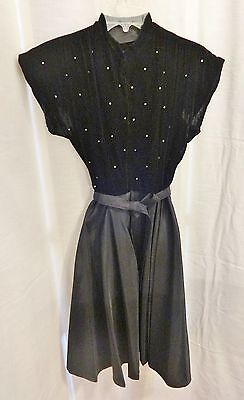 Vintage 1940's Black Velvet & Taffeta w Rhinestones SS Party Dress XS