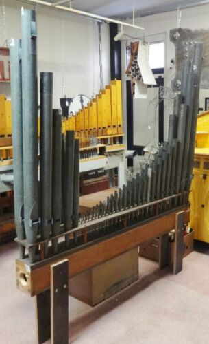 Incredible Antique Complete Double Row Rack of Pipe Organ Pipes 61 Pipes V Shape