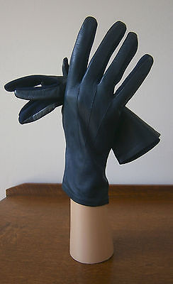 VINTAGE 1960s DENTS FOWNES MIDNIGHT BLUE LEATHER BACKED WRIST LENGTH GLOVES