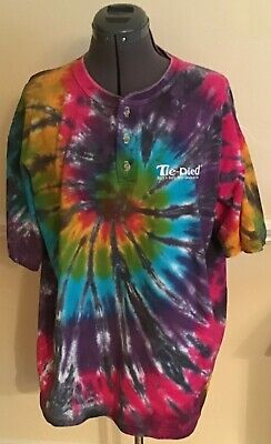 Men's Tie Dye T-Shirt XL Button Collar Music Way of Life 1995 ISA Releasing Ltd](Tie Dye Room)