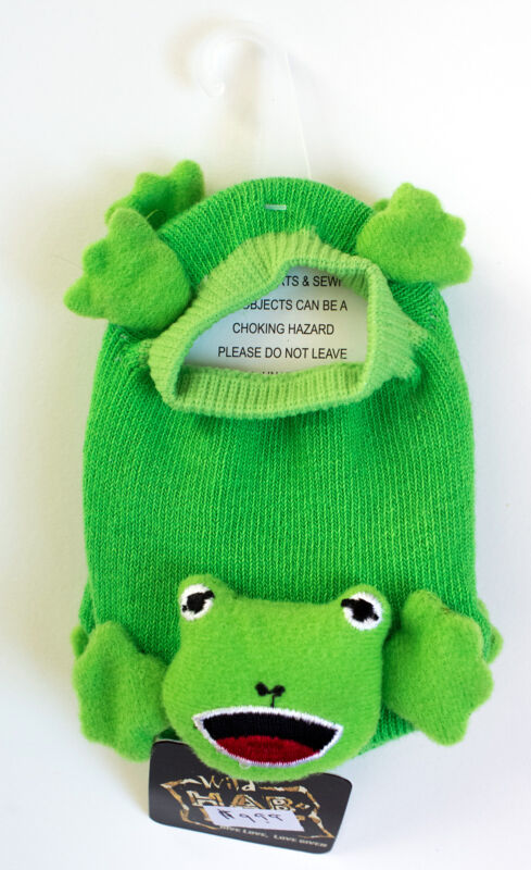 One pair of frog green baby toddler stretch booties one size fits most
