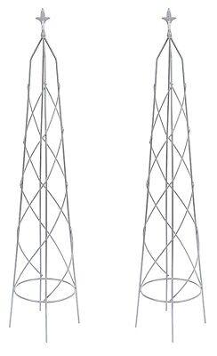 Metal Climbing Plant Obelisks Garden Supports Set of 2 x 1.2m high Grey Nostell