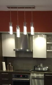 pendant lamp fixture and two matching track lights, $120 OBO