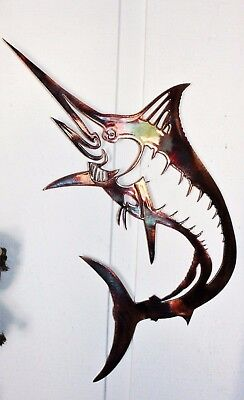 """Jumping Marlin Metal Wall Art  20"""" tall x 12"""" wide"""