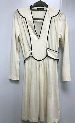 Jenny Dyer London Cream wool dress with black silk trim - UK 12