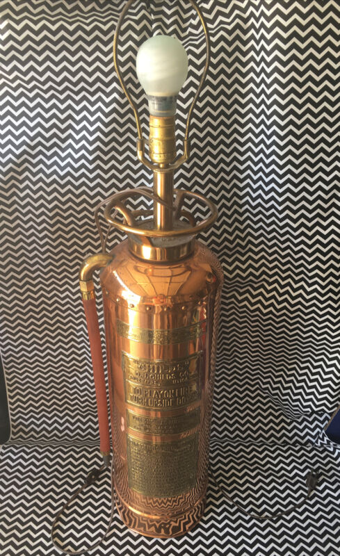 """VINTAGE """"O.J. CHILDS"""" FIRE EXTINGUISHER REPURPOSED TO DECORATIVE LAMP"""