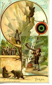 Tyrol Sports Pastimes-1893 Arbuckle Bros Coffee-Victorian Advertising Trade Card