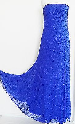 Cache Dress Formal Royal Blue Silk Chiffon Beading Strapless Swing Size L ()