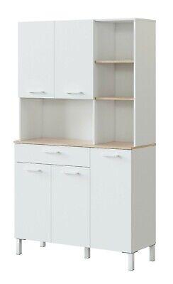 Mueble aparador alto Yuka cocina 5 puertas 1 cajon 4 huecos blanco 186x208x40