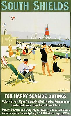 Vintage Rail advertising travel railway poster  A4 REPRINT South Shields