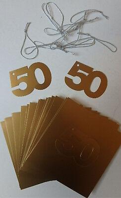 5die goldene Zahl 50 aus Karton zum aufhängen, 40mm hoch 63mm breit