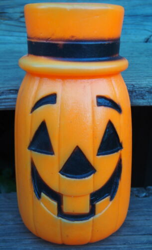 Vtg 1960'-70s Bayshore Halloween Top Hat PUMPKIN JOL Blow Mold Light Up As Is