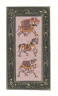 Elephant Horse Camel Silk Painting Handmade Original Home Decor Watercolor Art