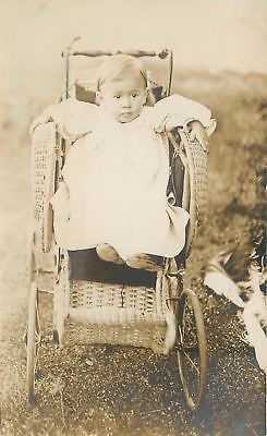 Baby~Vintage Wicker Carriage~Stroller~Ready to Bolt~Gown~1908 Real Photo~RPPC