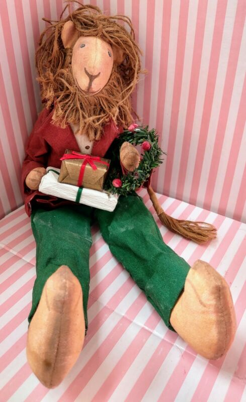 Vtg Silvestri Xmas Lion Large Figure Paper Mache & Fabric Made in Philippines A+