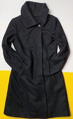 Zara Woman Long Wool Coat Dark Black Buttons Winter Warm 5 Long Black Wool Coat