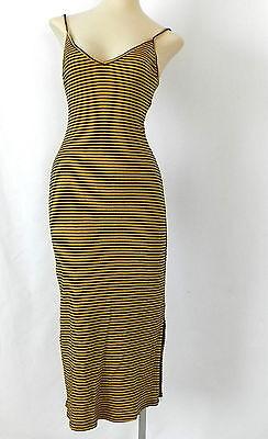 Calf Brandy - Brandy Melville Dress Spaghetti Strap striped Mid-Calf Cotton Bodycon One Size