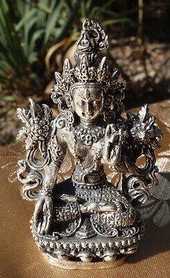 Old Tibetan Miniature Statue White Tara in Silver