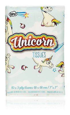 NPW Unicorn Print Travel Tissues Soft 3 Ply Hanky Set of 10
