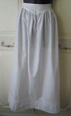 Antique Edwardian Maids White Cotton Half Apron - Length 90 cm / 35.5 inch