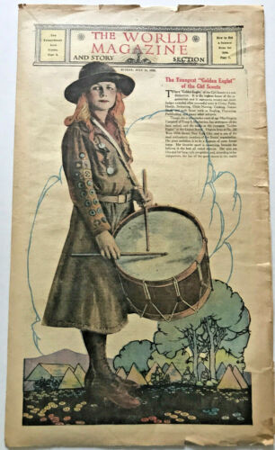 1920 GIRL SCOUTS Golden Eaglet World Magazine Photo COVER FEATURE New York City