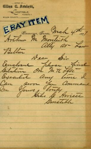 1897 office of GILES C. AVRIETT Constable CAMERON TEXAS letterhead MILAM County