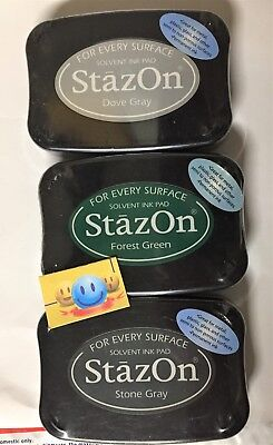 - STAZON INK PADS COLORS  DOVE GRAY FOREST GREEN  STONE GRAY NEW
