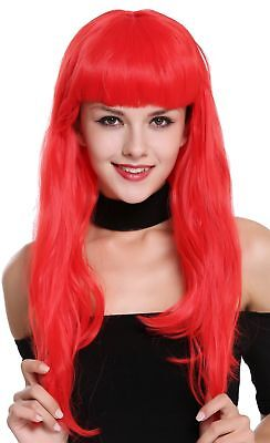 Parrucca Donna Carnevale lungo Rosso Frangia Burlesque 50er Pin-Up Star 90649