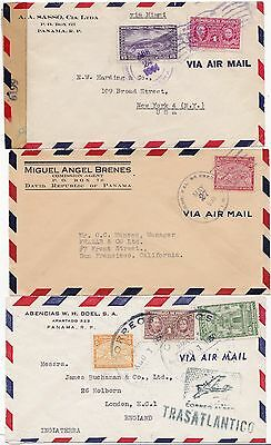 * 1933/50 PANAMA x 5 AIRMAIL COVERS TO UK & USA - 1 CENSORED IN WW2