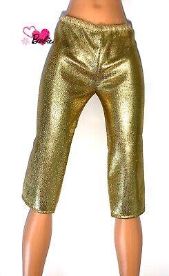 Barbie Dolls Vintage Clothes 80's  90's Gold Crop Leggings