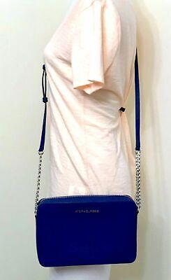 Michael Kors Jet Set Travel Large EW Saffiano Leather Crossbody Bag in Sapphire