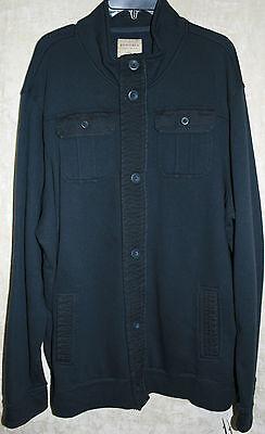 NWT Sonoma long sleeve Jacket button front Blue Super Soft mens Cotton 4 pocket