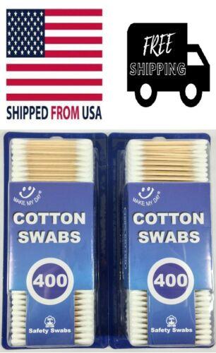 Wood Sticks Cotton Swabs 100% Cotton Tips Wooden Applicator Double Q Tip 800 Pcs