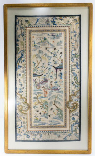 Antique Chinese Framed Embroidered Silk Robe Panels Landscape Embroidery
